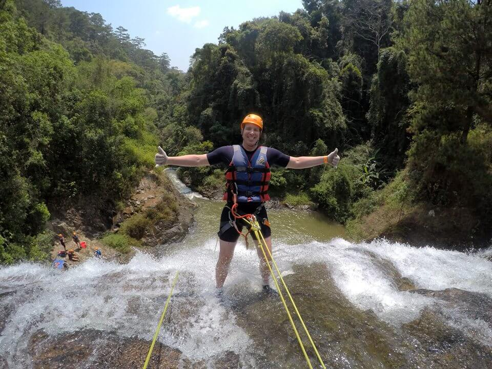 Many foreign tourists enjoy Dalat Canyoning