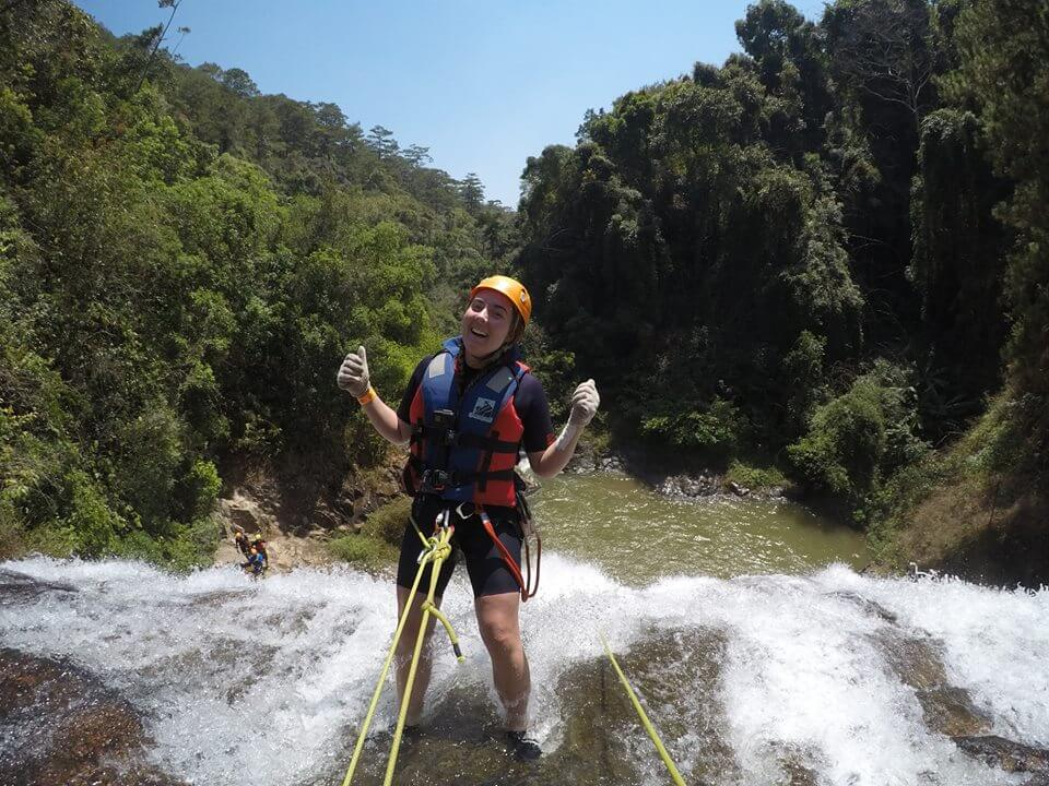 Tourists excitedly join Canyoning