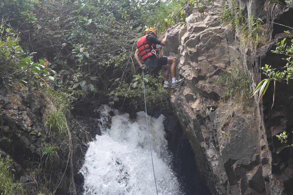 Swim down the waterfall 25m high